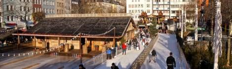 Patinando sobre hielo en el centro de Köln