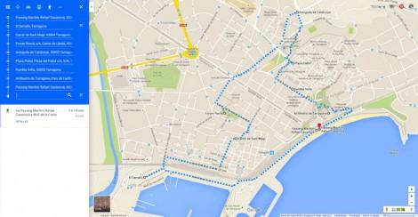 Ruta trazada a pie por dentro de Tarragona